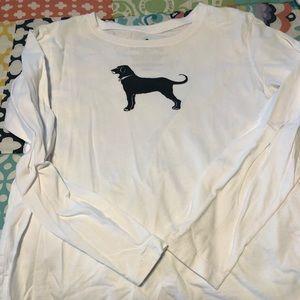 Classic black dog white long sleeve tee